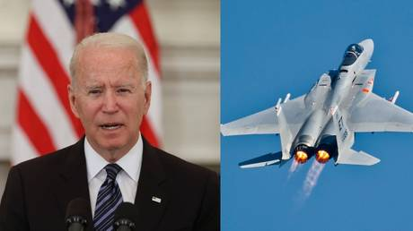 US President Joe Biden (June 23, 2021 photo) said one would need F-15 fighters (file photo) to confront the government