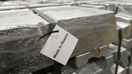 Small-sized aluminum ingots at the foundry shop of the Khakas aluminium smelter near Sayanogorsk, Russia