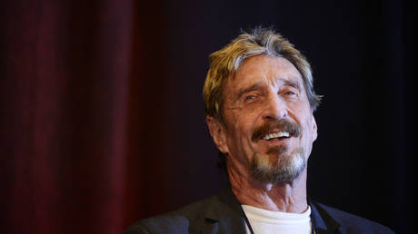 John McAfee founder of McAfee anti virus/security software was the keynote speaker for the 10th anniversary Rocky Mountain Information Security Conference at the Colorado Convention Center in Denver. © Cyrus McCrimmon/The Denver Post via Getty Images