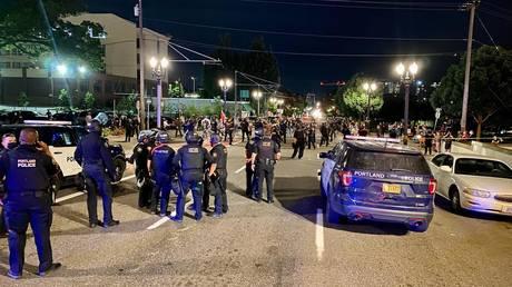 The scene near Motel 6 in Portland. Courtesy of the PPB
