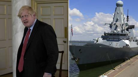 (L) Boris Johnson © AP Photo/Matt Dunham; (R) British Royal Navy's Type 45 destroyer HMS Defender is docked in the Black Sea port of Odessa, Ukraine June 18, 2021. Picture taken June 18, 2021. © REUTERS/Sergey Smolentsev