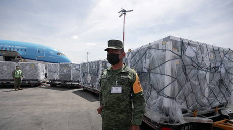 A member of the National Guard looks on as a batch of AstraZeneca coronavirus disease (Covid-19) vaccines, delivered under the Covax scheme, is unloaded from a KLM Boeing 787 at Benito Juarez International Airport in Mexico City, Mexico (FILE PHOTO) © REUTERS/Henny Romero