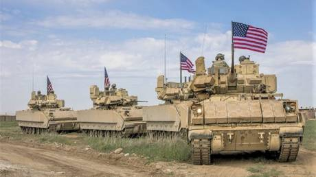 US Bradley armored vehicles on patrol in northeastern Syria (file photo)