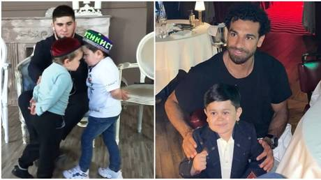 Hasbulla rival Abdu Rozik posed with football star Salah in Dubai. © YouTube Асхаб Тамаев / Instagram @abdu_rozik