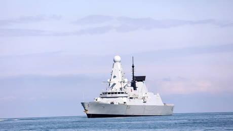 The British Royal Navy warship HMS Defender approaches the Black Sea port of Batumi, Georgia, June 26, 2021.