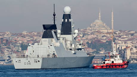 FILE PHOTO. British Royal Navy's Type 45 destroyer HMS Defender pictured in Istanbul, Turkey on June 9, 2021.