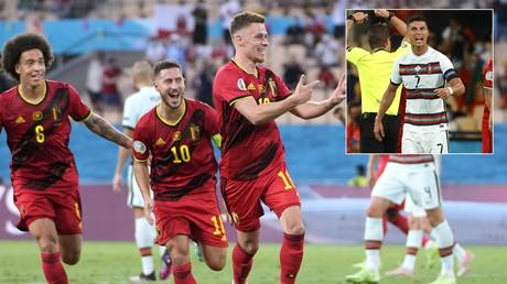 Belgium sent Portugal out of Euro 2020 with victory in Seville. © Reuters