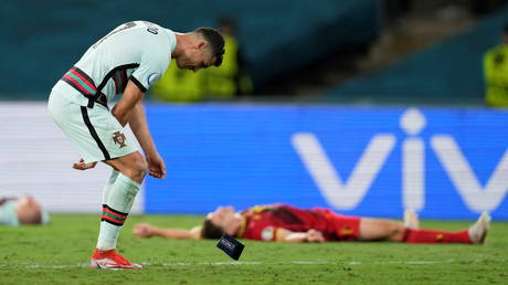 Ronaldo tossed his armband to the turf at the final whistle in Seville. © Reuters