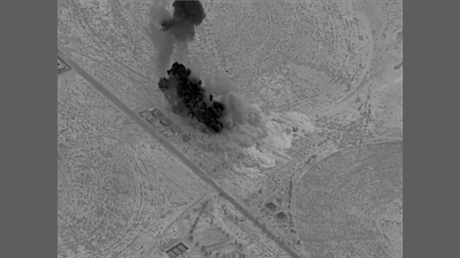 Screenshot from a video released by US Central Command showing airstrikes against Iraqi militias near the Syria-Iraq border on June 27, 2021.