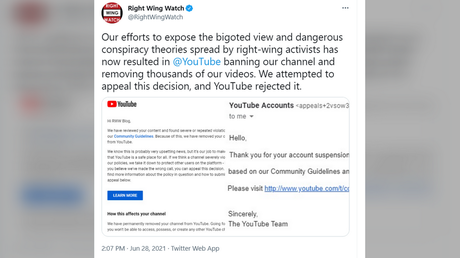 'You get what you deserve': Conservatives jeer as pro-censorship group Right Wing Watch gets BANNED on YouTube