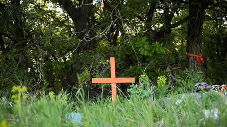 FILE PHOTO: A cross on the site of the former Brandon Indian Residential School in Manitoba, Canada, June 12, 2021.