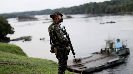 A Brazilian Army soldier in the Sao Gabriel da Cachoeira district of Brazil's Amazonas state, Brazil, March 3, 2021.