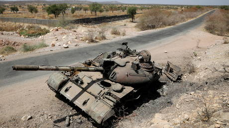 A tank damaged in fighting between Ethiopian government and Tigray forces is pictured near the town of Humera, Ethiopia on March 3, 2021.