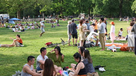 People enjoy socializing without masks in Central Park in the Manhattan borough of New York City
