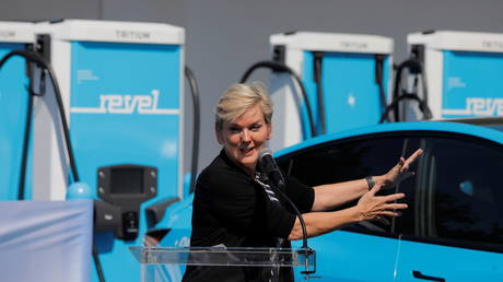 United States Secretary of Energy Jennifer Granholm at an event for a Revel electric vehicle charging superhub in Brooklyn, New York City