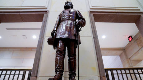 FILE PHOTO: A statue of Confederate Kirby Smith is displayed outside the Congressional Auditorium at the US Capitol, in Washington, DC, July 23, 2020.