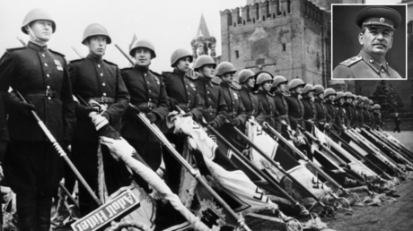 Victory Parade on Red Square on June 24, 1945 marking the defeat of Nazi Germany during WWII (1939-1945), Moscow, Russia. © Sputnik; (inset) Joseph Stalin. Moscow, Russia, 1945. © Sputnik