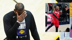 'LeQuit at it again': James blasted for tantrum exit in Lakers loss while Lillard breaks records and enters 'God mode' (VIDEO)