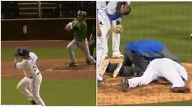 Baseball player rushed to hospital after he convulses after being hit in the head by line drive (GRAPHIC VIDEO)