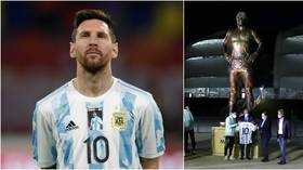 '1960-infinity': Messi helps unveil giant statue of Maradona while Argentina honor late icon with shirt tribute