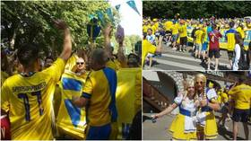 WATCH: Raucous Sweden fans MARCH on stadium in St. Petersburg before Euro 2020 clash with Slovakia