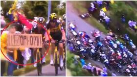 Tour de France fan who caused 21 injuries by triggering mass crash with sign is now being HUNTED BY POLICE (VIDEO)