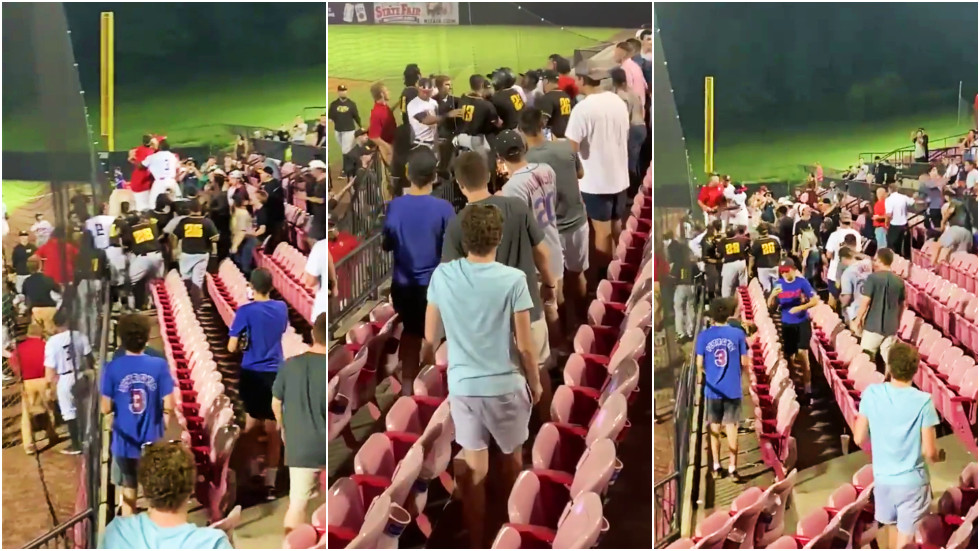 Strike! Baseball team storm the stands to confront fans after being showered with beer (VIDEO)