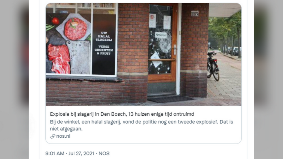 Bomb goes off outside Dutch halal butcher shop, police recover 2nd explosive device