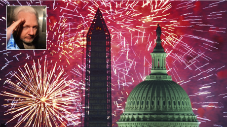 FILE PHOTO. Fourth of July, US Independence Day fireworks are seed over the US Capitol and National Monument in Washington, DC. © AFP / PAUL J. RICHARDS; (inset) Julian Assange. © AFP / DANIEL LEAL-OLIVAS