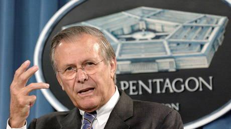 U.S. Secretary of Defense Donald Rumsfeld answers questions at the Pentagon