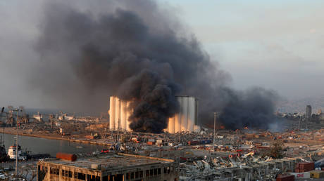 FILE PHOTO. Smoke rises from the site of an explosion in Beirut's port area, Lebanon August 4, 2020