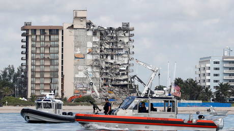 A partially collapsed residential building in Surfside, near Miami Beach, Florida, July 1, 2021.