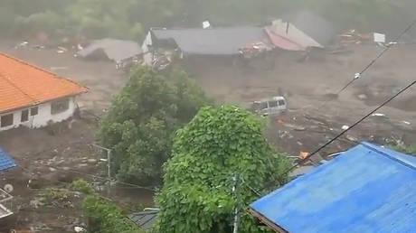 A landslide in Atami, Japan, July 3, 2021. © Jiji Press/AFP