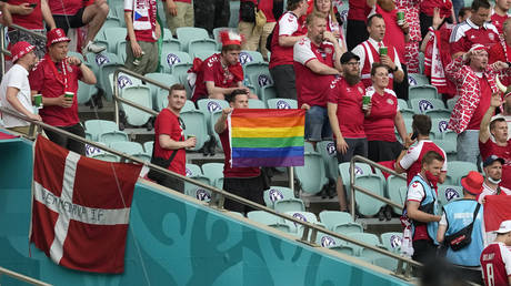A Denmark fan was spotted holding an LGBT flag in the crowd in Baku. © AFP
