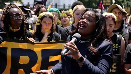 Congresswoman Cori Bush is shown speaking at a climate-change demonstration last week in Washington.