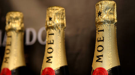 Moet & Chandon Swarovski-crystallized champagne bottles are displayed at the Moet & Chandon suite during The Luxury Lounge in honor of the 2008 SAG Awards, held at the Four Seasons Hotel on January 25, 2008 in Beverly Hills,California. © Alberto E. Rodriguez/Getty Images for Moet & Chandon