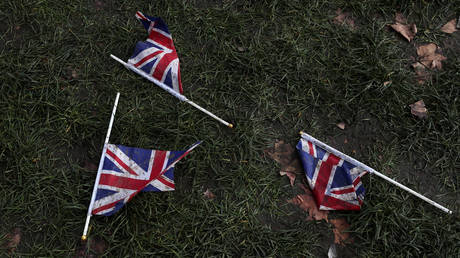 Union Jack flags lay on the ground at Parliament Square in London, Britain, February 1 2020.