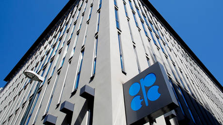 FILE PHOTO: The logo of the Organization of the Petroleoum Exporting Countries (OPEC) outside of OPEC's headquarters in Vienna, Austria.