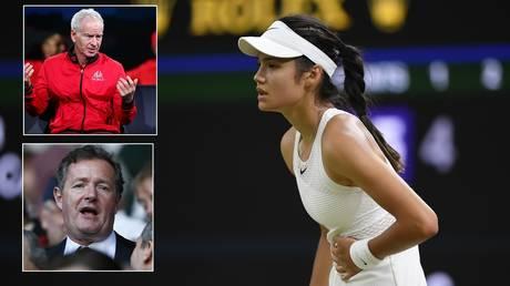 John McEnroe and Piers Morgan both commented on Emma Raducanu's retirement at Wimbledon. © Reuters
