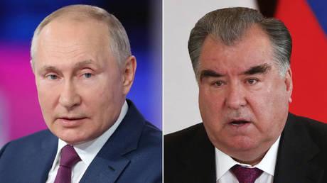 (L) Vladimir Putin © Sputnik / Sergei Savostyanov; (R) Emomali Rahmon © REUTERS / Shamil Zhumatov