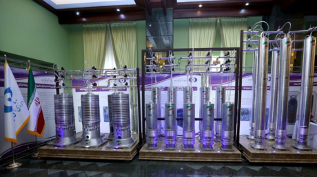 A number of new generation Iranian centrifuges are seen on display during Iran's National Nuclear Energy Day in Tehran, Iran