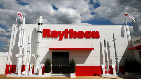 File photo: Raytheon Technologies stand at the 53rd International Paris Air Show at Le Bourget, France, June 21, 2019.