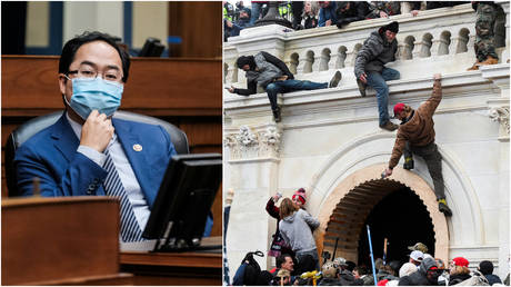 FILE PHOTOS: (L) New Jersey Democrat Andy Kim attends a briefing at the US Capitol; (R) A scene from the riot at the Capitol on January 6, 2021.