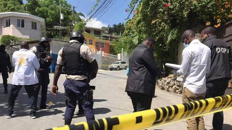Security forces inspect at the site after an attack at the residence of Haiti's President Jovenel Moise in Port-au-Prince, Haiti on July 07, 2021. © Stringer/Anadolu Agency via Getty Images