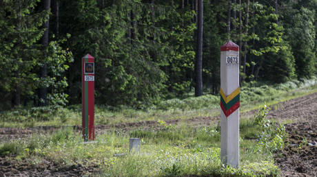 A general view of the Lithuania-Belarus border line on June 21, 2021 in Poskonys, Lithuania. © Paulius Peleckis/Getty Images