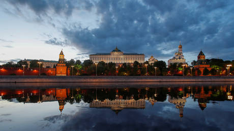 Kremlin is reflected in the Moskva river in Moscow, Russia.