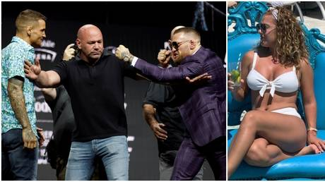 Poirier and McGregor clashed at a raucous press conference before UFC 264. © Sportsfile via Getty Images / Instagram @mrsjoliepoirier