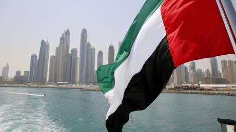 FILE PHOTO: UAE flag flies over a boat at Dubai Marina, Dubai, United Arab Emirates
