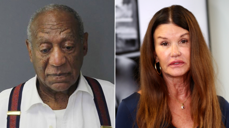 (L)  Bill Cosby © AFP / HO / Montgomery County Correctional Facility; (R) Janice Dickinson. © AFP / FREDERICK M. BROWN