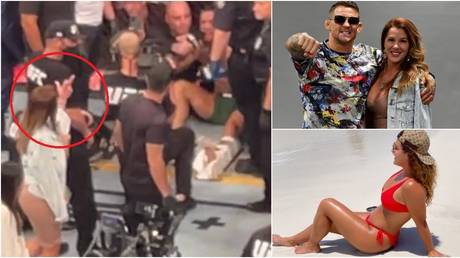 Jolie Poirier was seen taunting Conor McGregor after his defeat to husband Dustin at UFC 264. © Zuffa LLC / Twitter / Instagram @mrsjoliepoirier